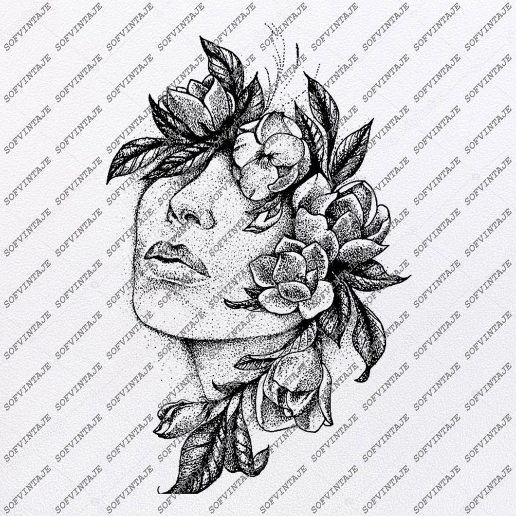 The face in the flowers Svg File-Woman Original Design-Wonan Clip art-Woman Svg Files-Woman Clipart-Svg For Cricut-For Silhouette -DXF - EPS