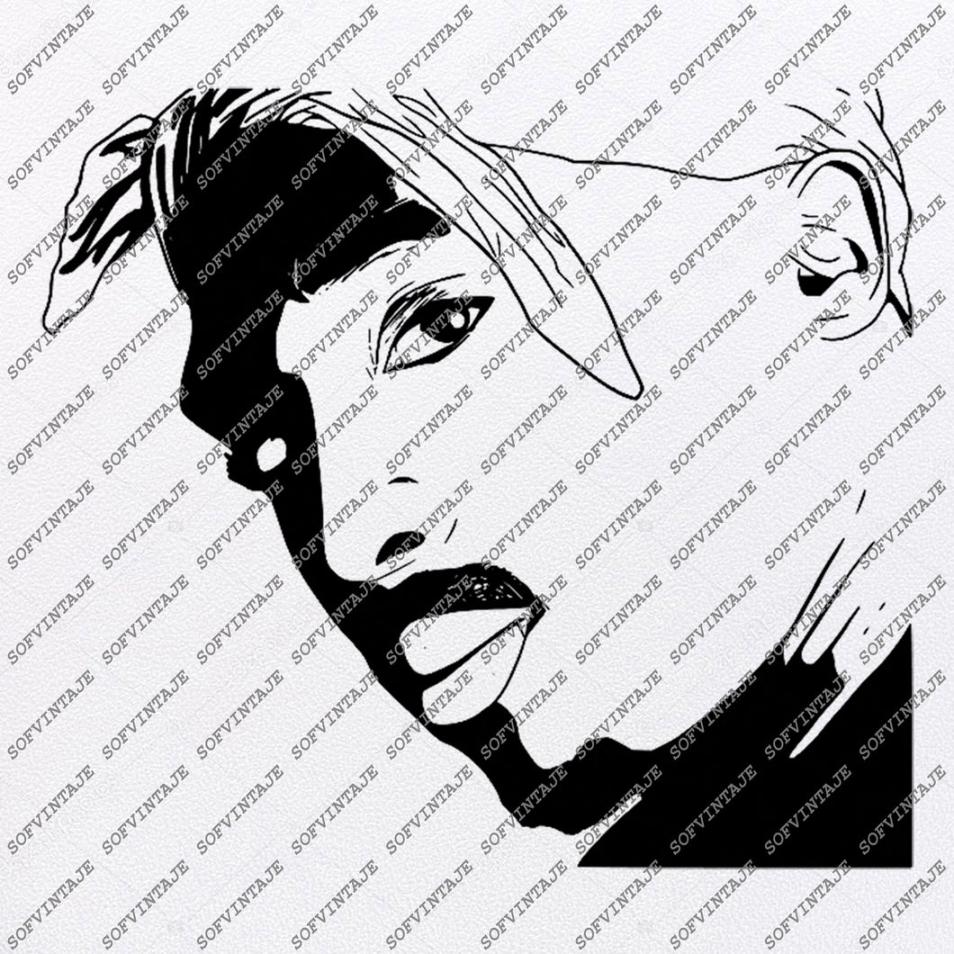 2pac Svg File-Tupac Shakur Svg Design-Clipart-Singer Hip Hop Svg File -Actor Png-Vector Graphics-Svg For Cricut-For Silhouette-DXF-EPS