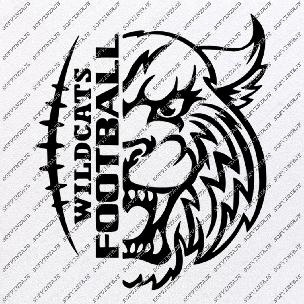Wildcats Football Svg Files - Football Svg - Wildcat Svg - Football Clip art - Team Mascot - Svg For Cricut - Svg For Silhouette - SVG - EPS - PDF - DXF - PNG - JPG - AI