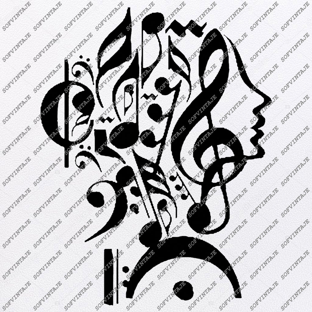 Music is My Life Svg File-Music Svg Design-Clipart-Girl Svg File-Music Girl For Tatoo- Girl Vector Graphics - Svg For Cricut-For Silhouette - SVG - EPS - PDF - DXF - PNG - JPG - AI