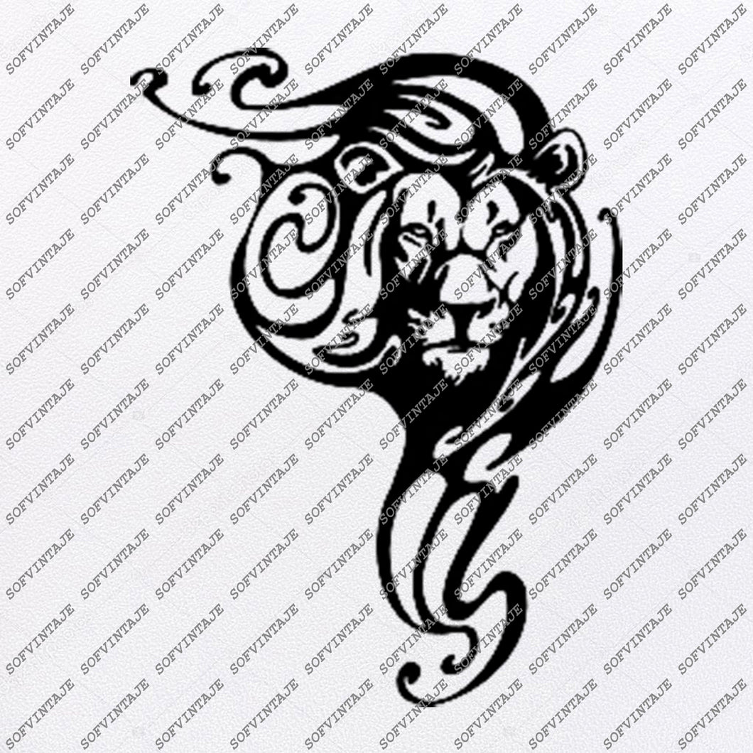 Lion Svg File-Lion  Original Svg Design-Animals Svg-Clip art-Lion Vector Graphics-Svg For Cricut-Svg For Silhouette-DXF–EPS