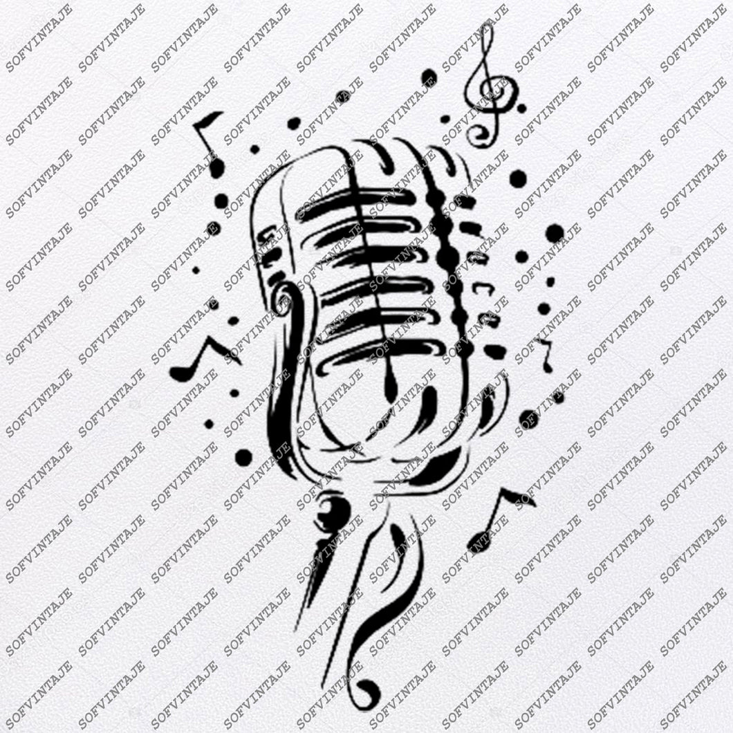 microphone Svg File-Music Svg Design-melody Clipart-Music Svg File-Music Png-Vector Graphics - Svg For Cricut-For Silhouette-DXF-EPS