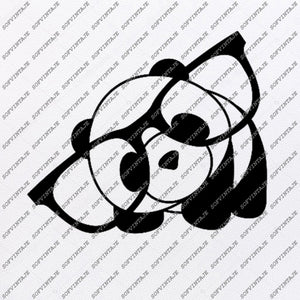 Bear Panda Svg File-panda with glasses Original Svg Design-Animals  Svg-Clip art-Panda Vector Graphics-Svg For Cricut-Svg For Silhouette - SVG - EPS - PDF - DXF - PNG - JPG - AI