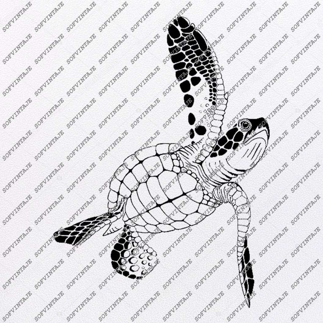 Sea Turtle Svg File-Turtle Original Design- Sea Turtle Clip art-Tattoo Svg Files - Sea Turtle Clipart -Svg For Cricut-For Silhouette-DXF-EPS