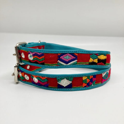 Extra Large Blue Leather Geometric woven multicolor design collar