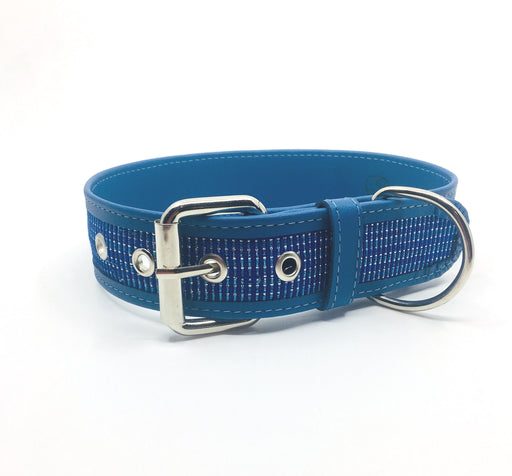 XXL Light Blue Sparkly Leather Dog Collar