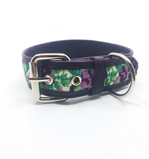 XXL Purple Flower Leather Collar