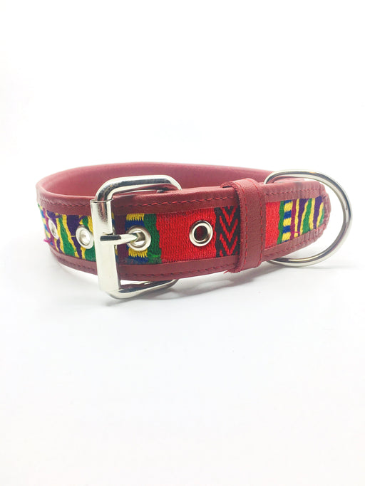 XXL Tribal Red Leather Collar
