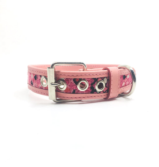 Large Light Pink Diamond Design Leather Dog Collar