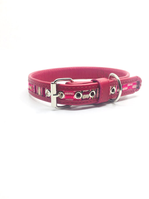Medium Fuchsia Geometric Design Leather Dog Collar