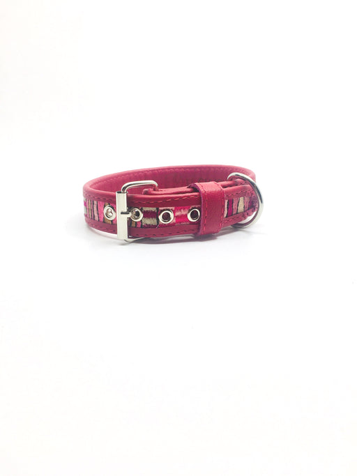 Small Fuchsia Leather Geometric Design Dog Collar