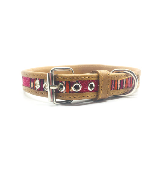 Medium Brown and Pink Leather Dog Collar