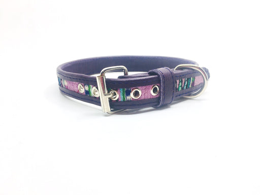Medium Purple Leather Dog Collar