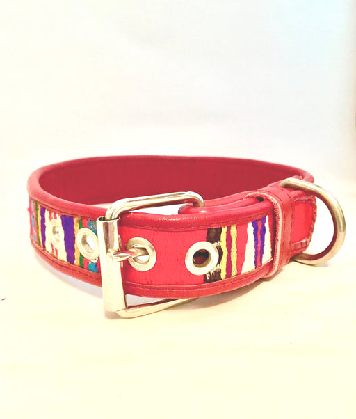 Large Red Leather Textile Dog Collar