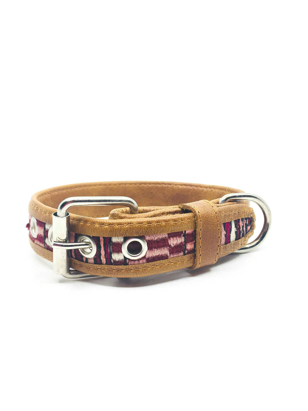 Large Burgundy and Brown Geometric Leather Dog Collar