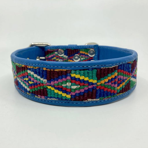 XXL Blue leather with handmade geometric woven multicolor Dog Collar