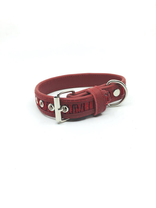Small Red and Black Leather Dog Collar