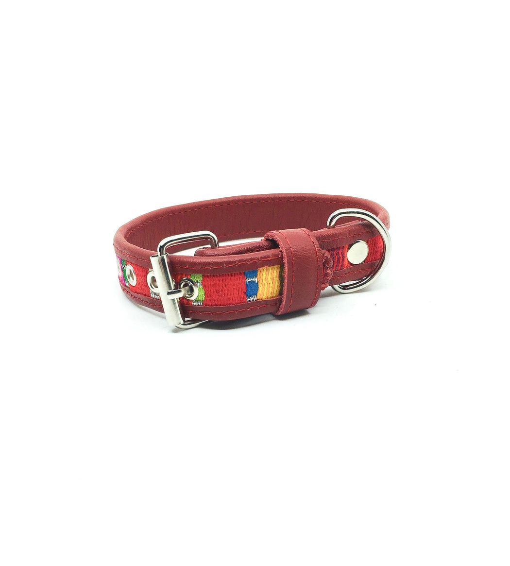 Small Red Leather Tribal Dog Collar