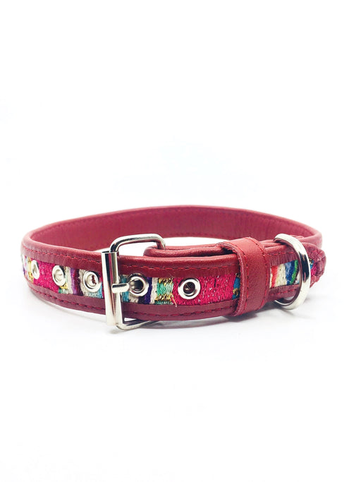 Medium Red Sparkly Leather Dog Collar