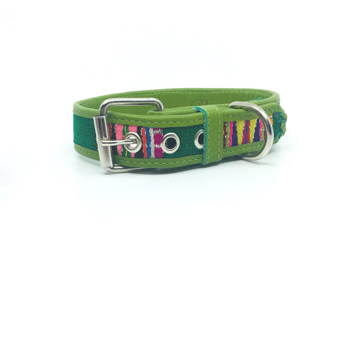 Large Green Leather Textile Dog Collar