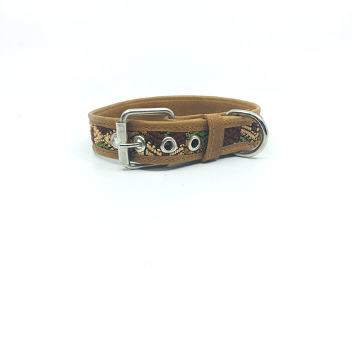 Large Brown Leather and Huipil Collar