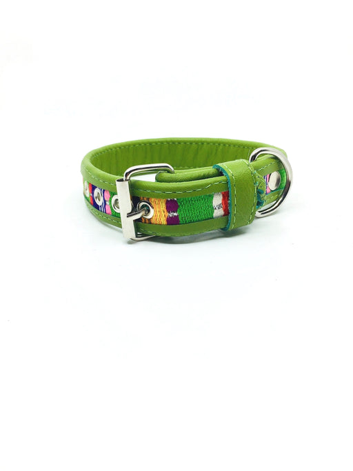 Small Green Leather Tribal Dog Collar