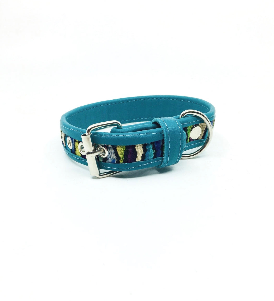 Small Turquoise Leather V Dog Collar