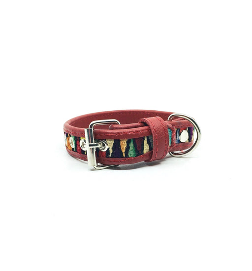 Small Red Leather V Dog Collar