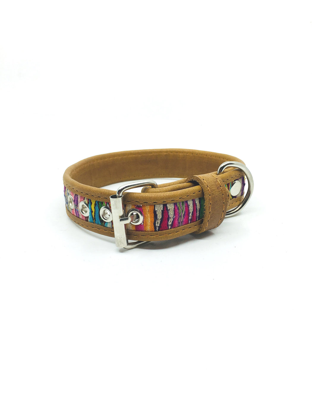 Small Beige Leather Dog Collar