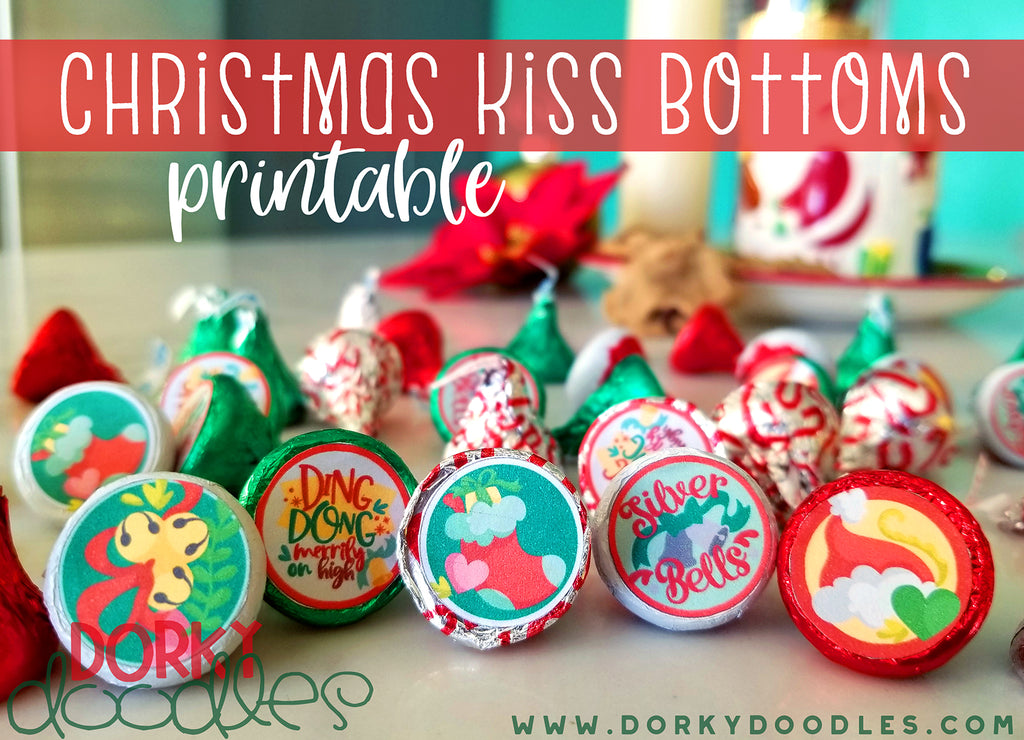 Christmas Kisses Printable Stickers