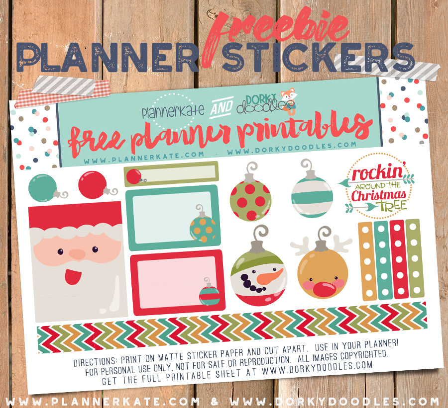 Free Christmas Ornaments Planner Sticker Printable