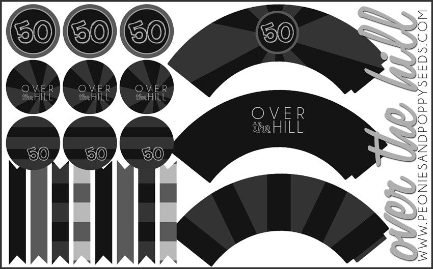 Over the Hill Party Pack: cupcakes and toppers