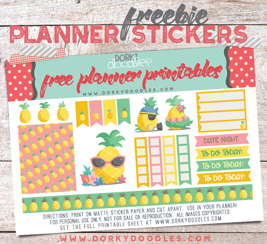 Free Pineapple Planner Stickers