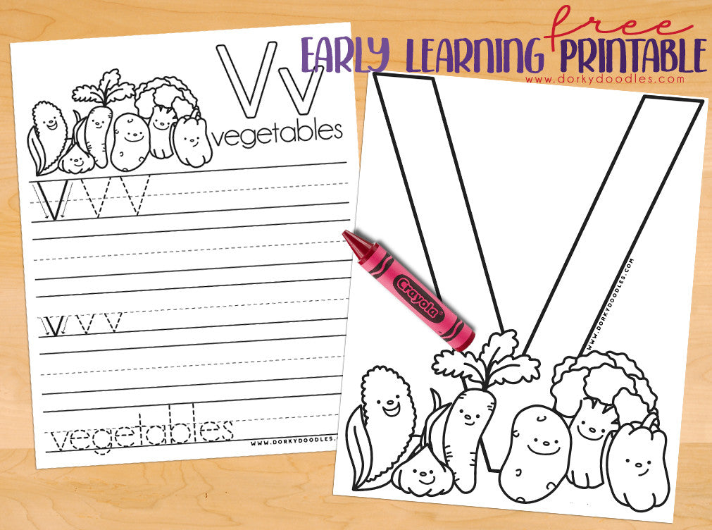 Letter V Writing Practice and Coloring Page