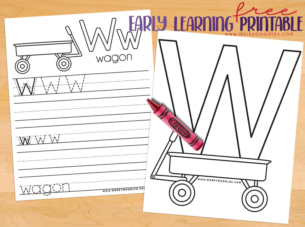Letter W Coloring Page and Writing Practice