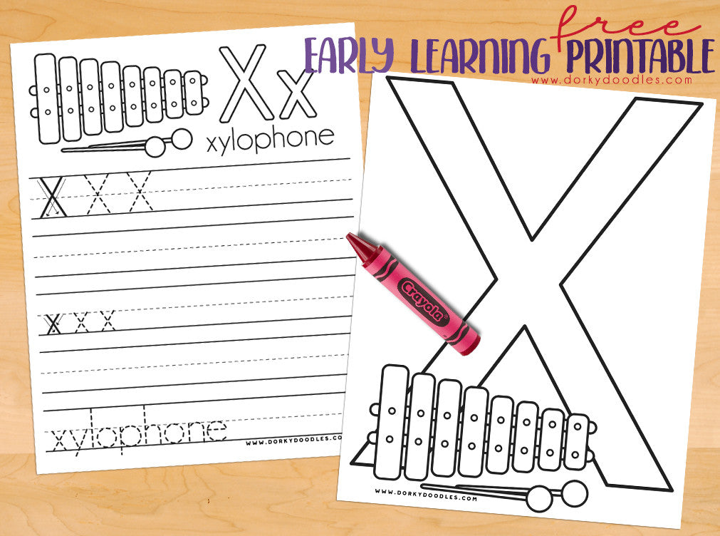 Letter X Coloring Page and Writing Practice