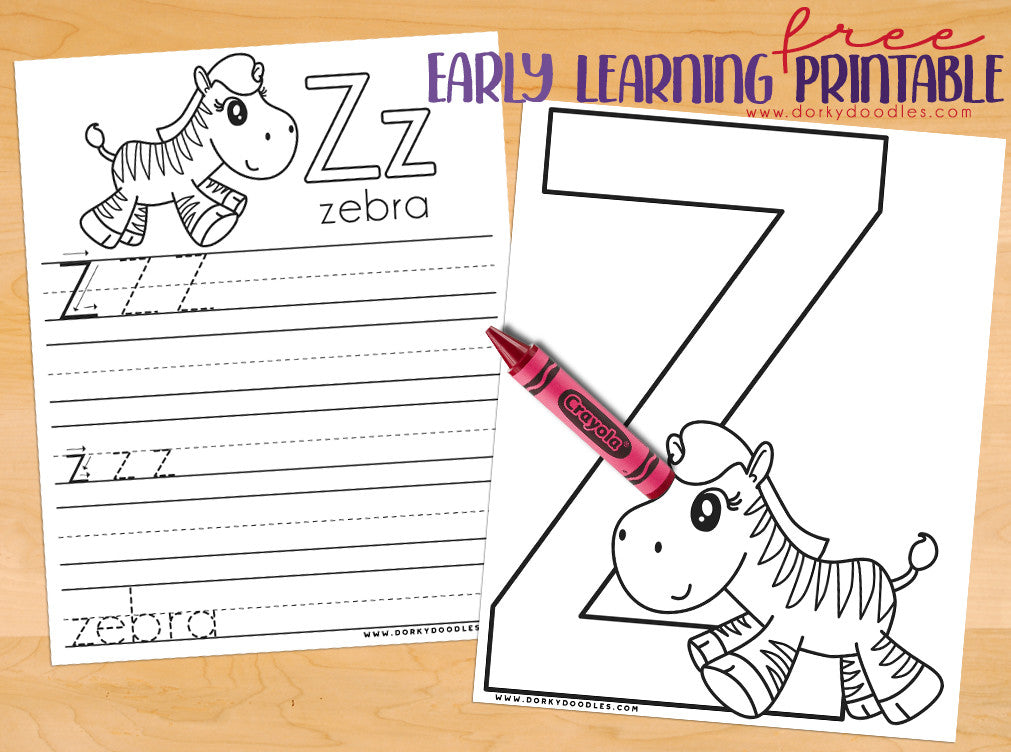 Letter Z Coloring Page and Writing Practice Worksheets