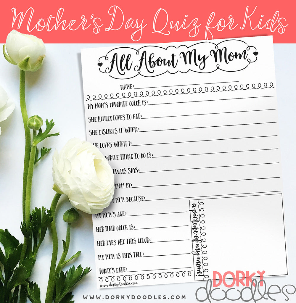 Mother's Day Quiz for Kids - Free Printable