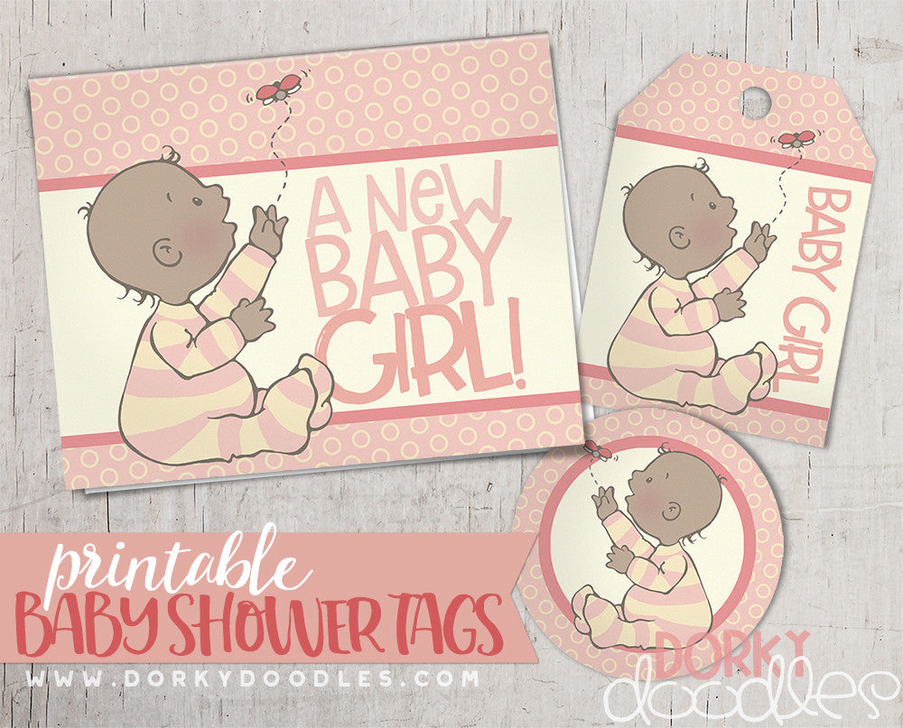 Baby Shower Tag Printables for Girls