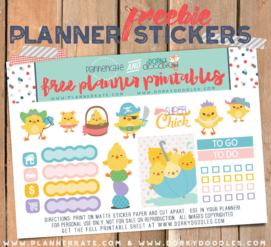 Easter Chicks Planner Stickers Freebie