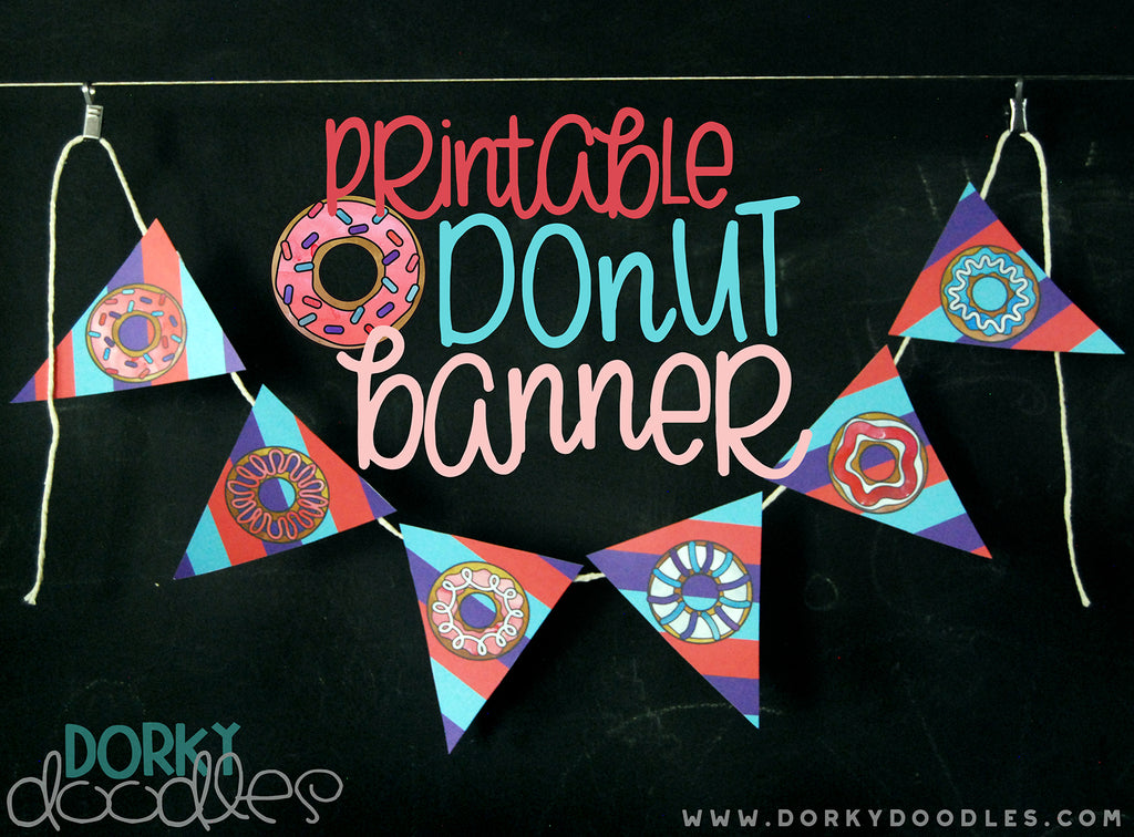 Donut Party Banner Printable