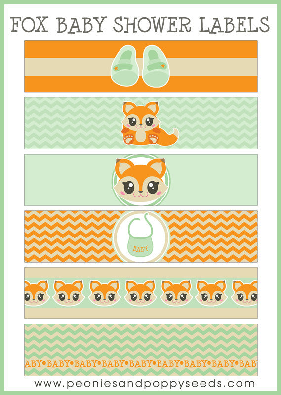 Fox Baby Shower Printables