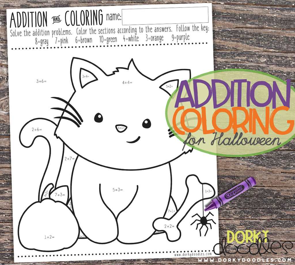 Addition Practice and Coloring for Halloween