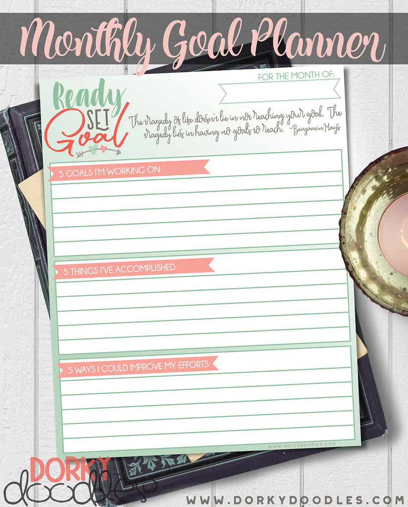 Printable Monthly Goal Planner for Bullet Journals