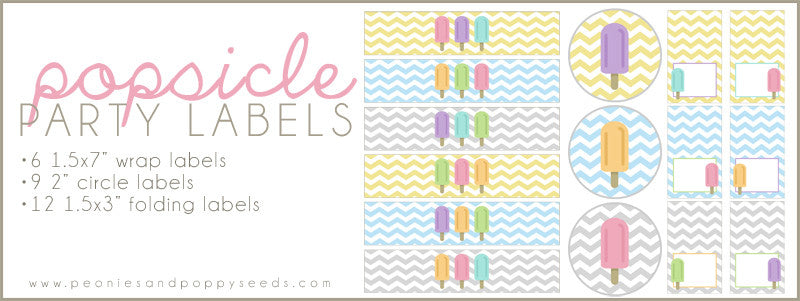 Popsicle Party Printables: Labels