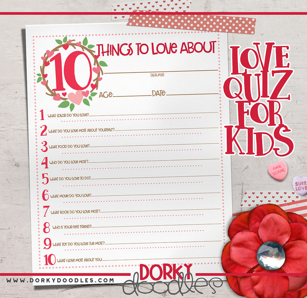Printable Valentine Kid Quiz