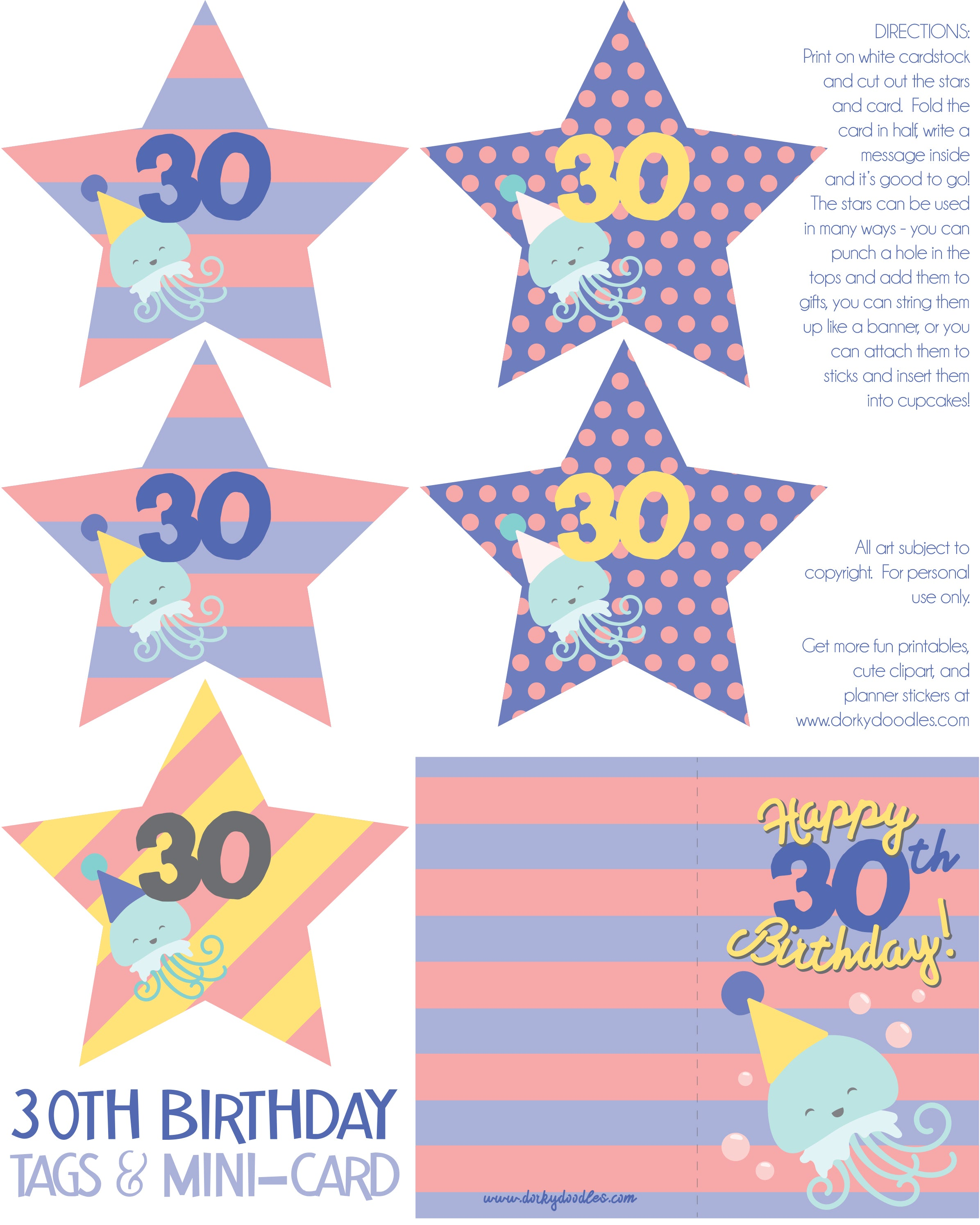 30 birthday printable tags and card