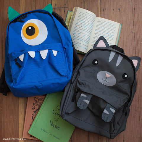 DIY monster and cat backpack