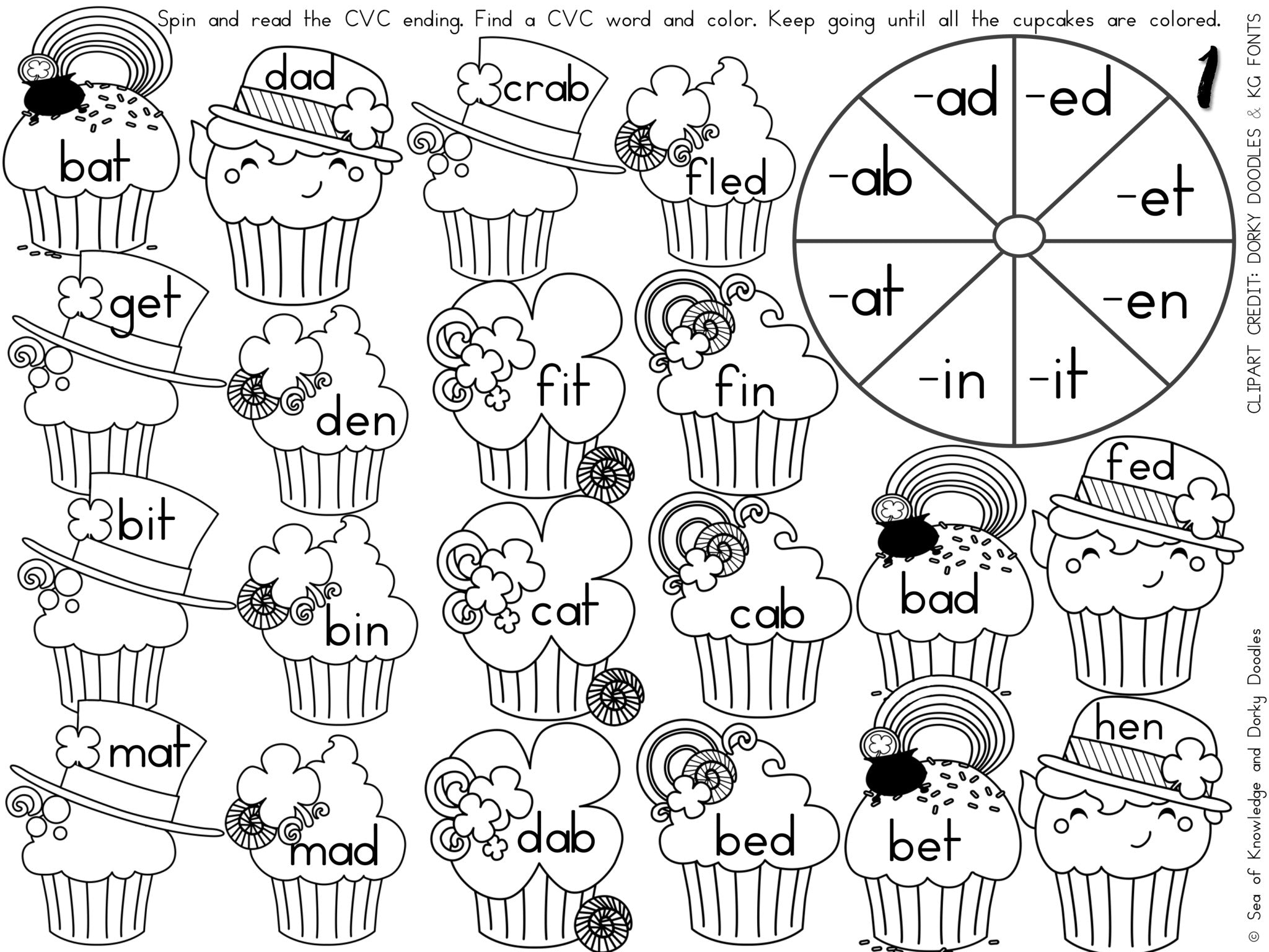 image about Free Printable Clipart for St Patrick's Day called St Patricks Working day CVC Term Spinner Worksheets Dorky Doodles