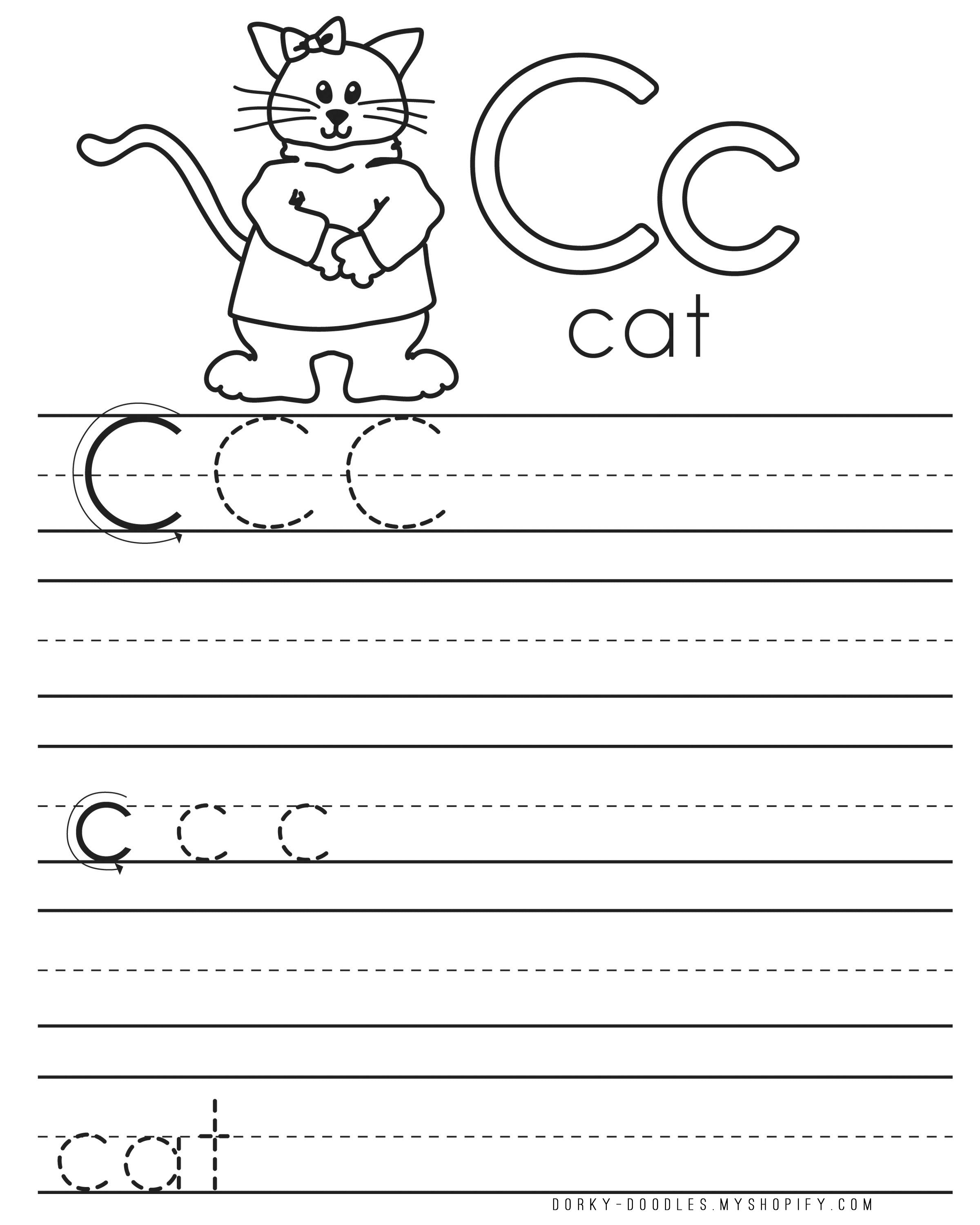 letter practice c worksheets dorky doodles. Black Bedroom Furniture Sets. Home Design Ideas